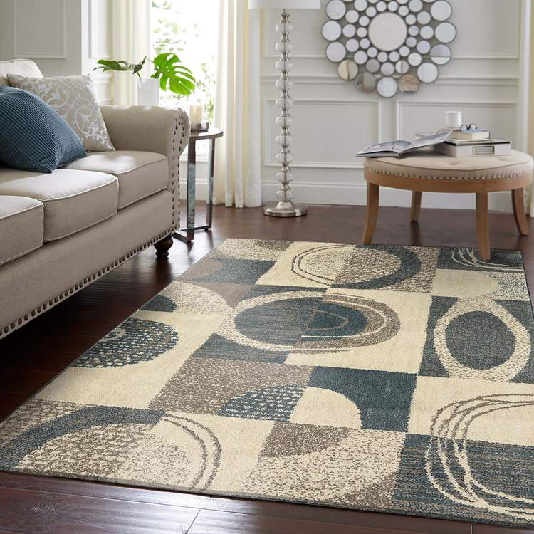 Apia Geo Brown  White Area Rug
