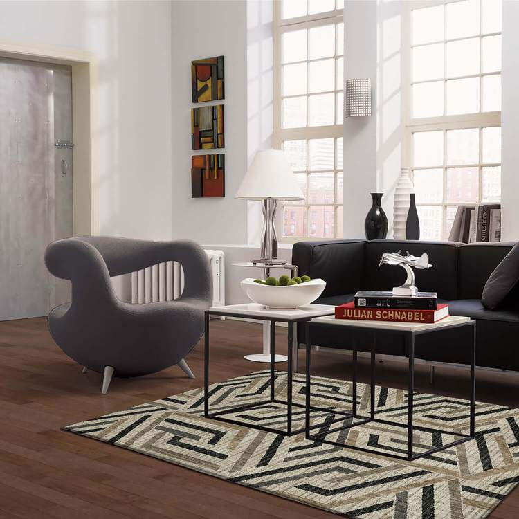 Dominica Vega White  Gray Area Rug