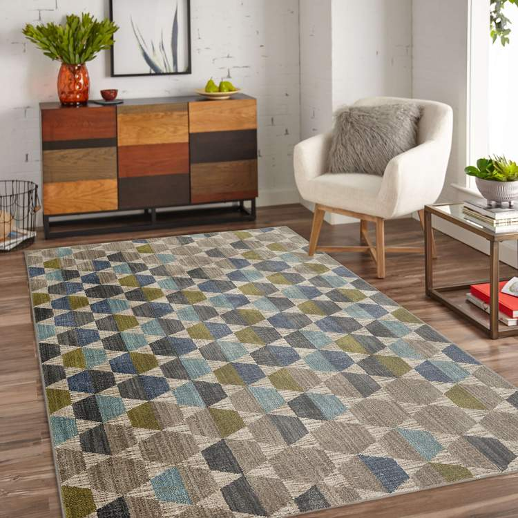 Dominica Rigel Green  Blue Area Rug