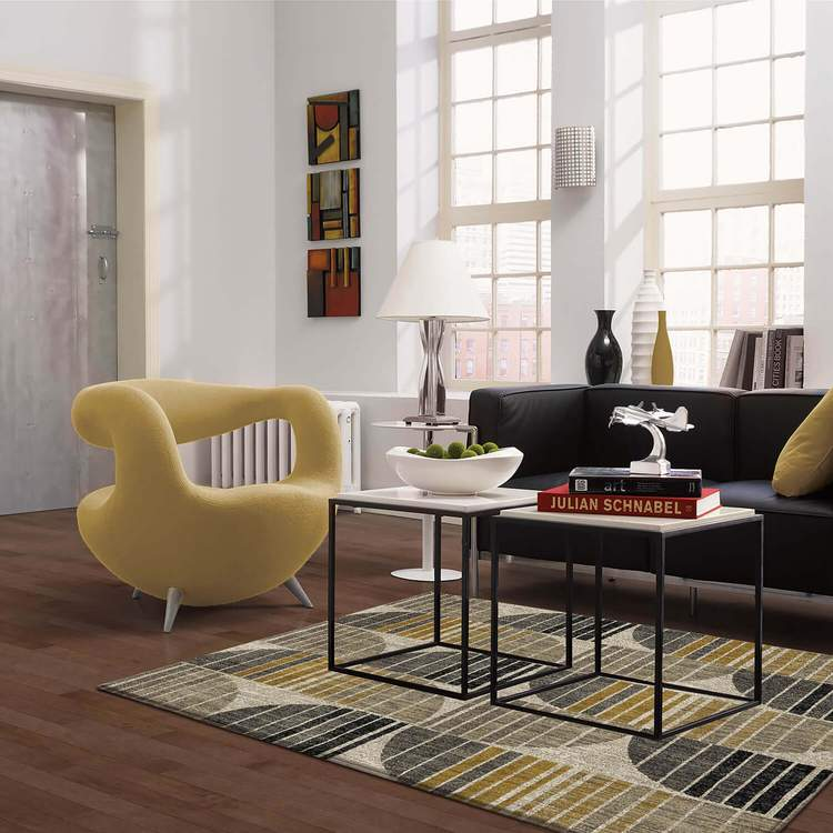 Dominica Polaris Gray  Yellow Area Rug