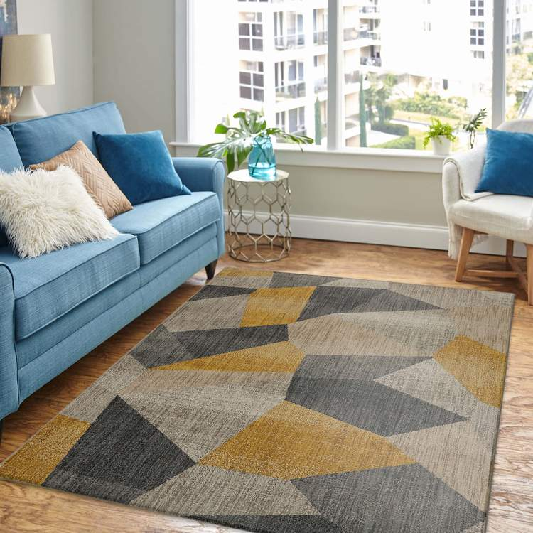 Dominica Antares Gray  Yellow Area Rug