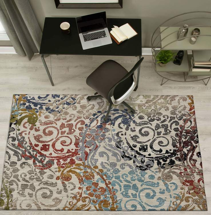 Dominica Leonis Gray  Red Area Rug
