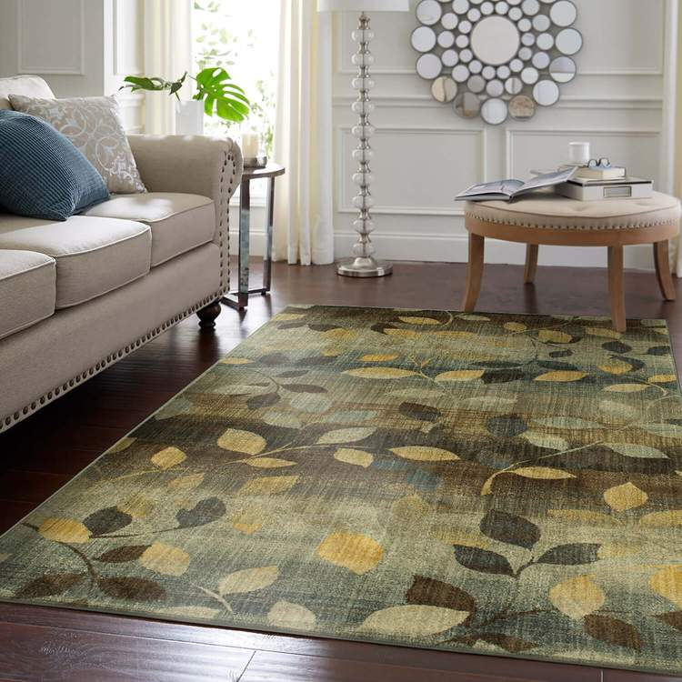 Savvy Morrell Sea Green  Brown Area Rug