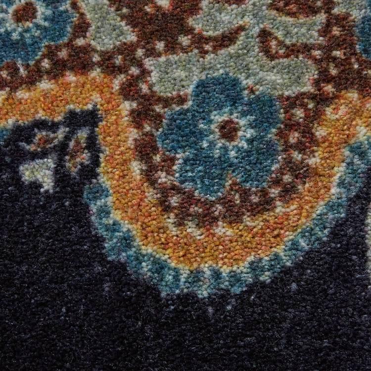 Technicolor Lacey Blue  Brown Area Rug