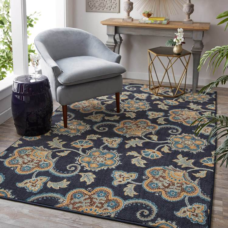 Technicolor Lacey Blue  Brown Area Rug