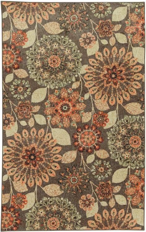 Technicolor Vintage Brown  Orange Area Rug