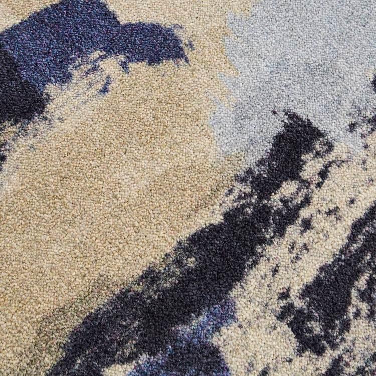 Technicolor Drip Dash Gray  Blue Area Rug