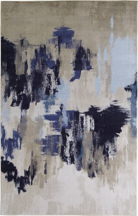 Technicolor Drip Dash Gray  Blue Area Rug