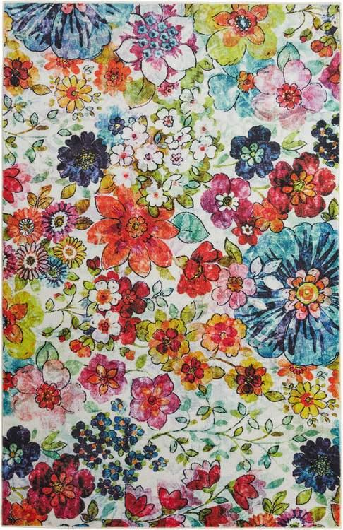 Technicolor Tori White  Pink Area Rug