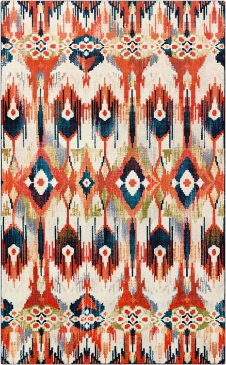 Technicolor Kochi White  Orange Area Rug