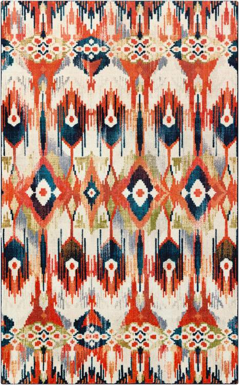 Technicolor Kochi White  Orange Area Rug