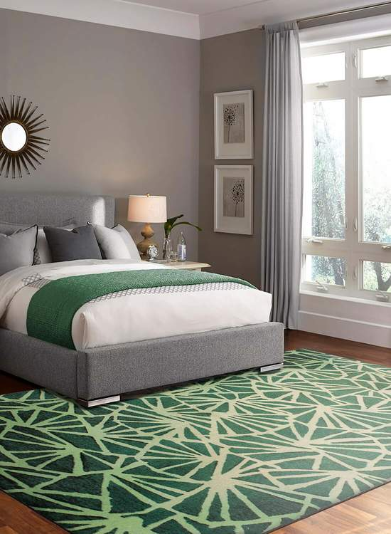 Technicolor Webbed Forest Green Area Rug