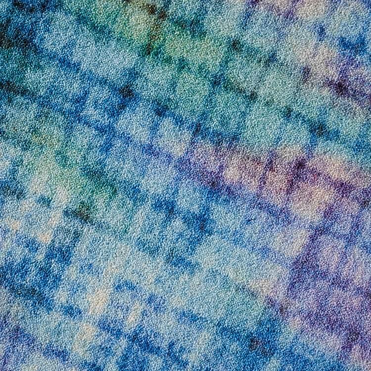 Technicolor Pixilated Purple  Blue Area Rug