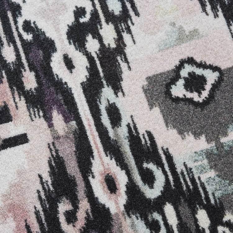 Technicolor Ikat White  Gray Area Rug