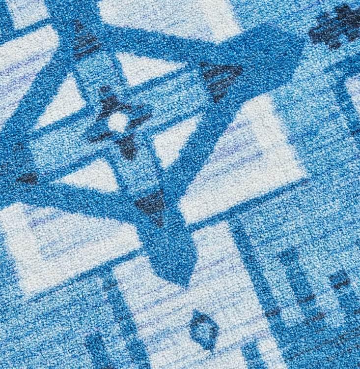 Technicolor Aztec Blue Area Rug