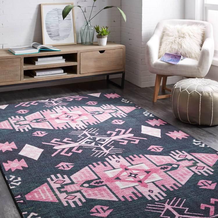 Technicolor Aztec Pink Area Rug