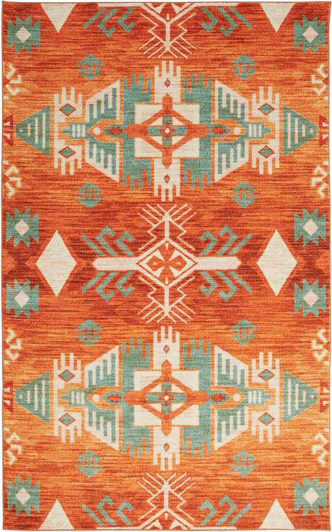 Technicolor Aztec Orange Area Rug