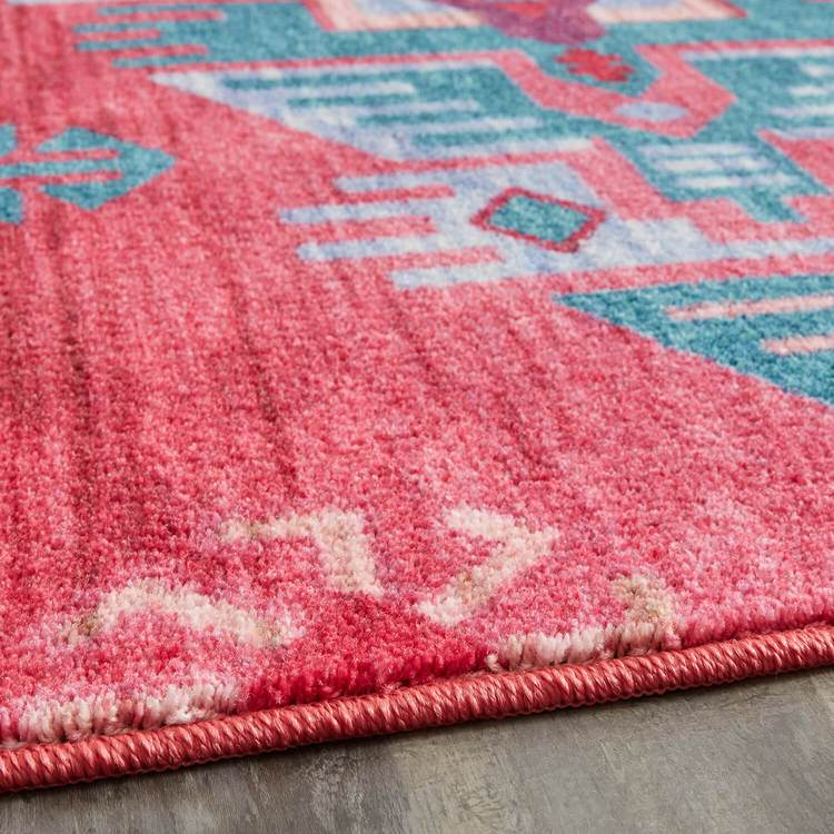 Technicolor Aztec Pink  Blue Area Rug