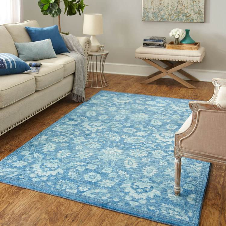 Technicolor Chippewa Medium Blue Area Rug