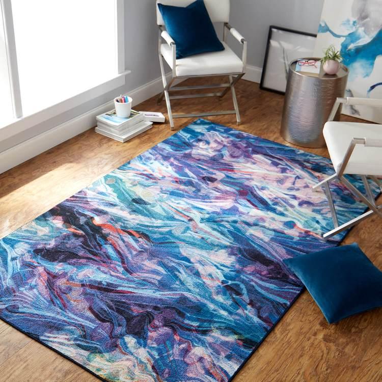 Technicolor Current Blue  Purple Area Rug