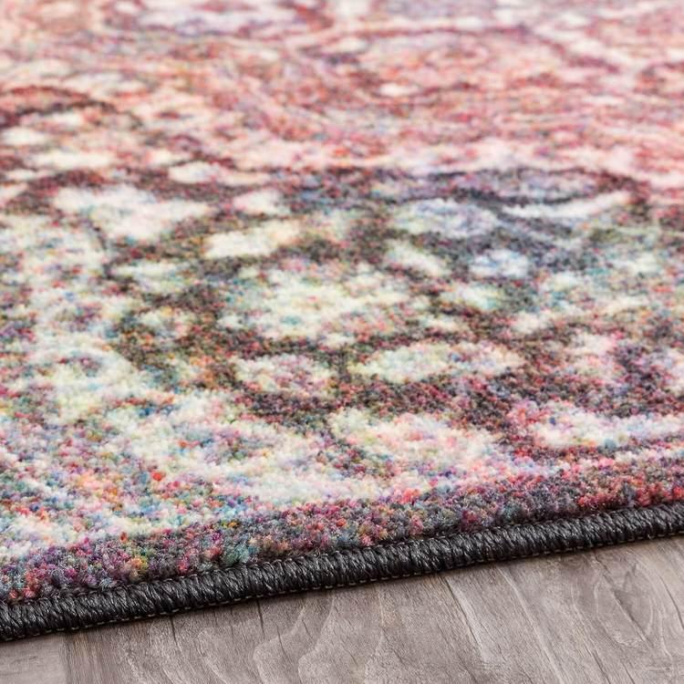Technicolor Kendall Gray  Pink Area Rug