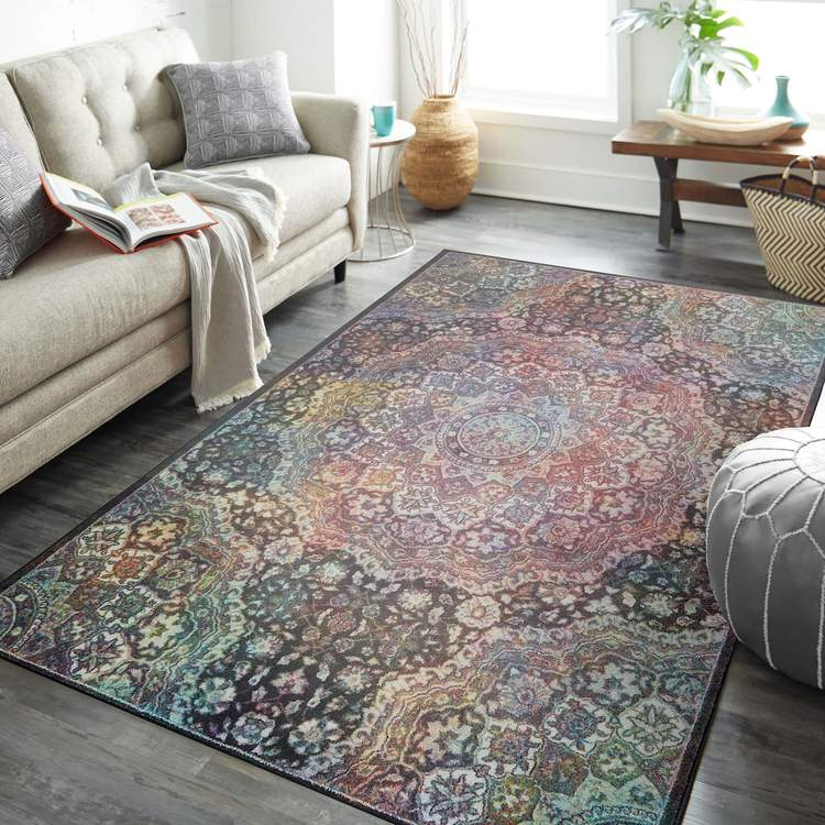 Technicolor Kendall Gray  Pink Area Rug
