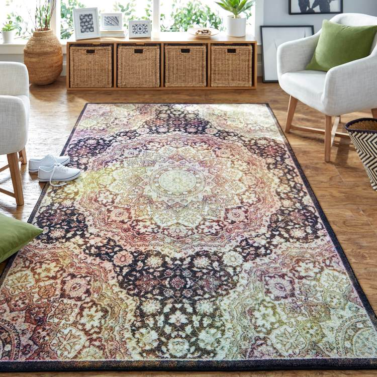 Technicolor Kendall Gray  Yellow Area Rug