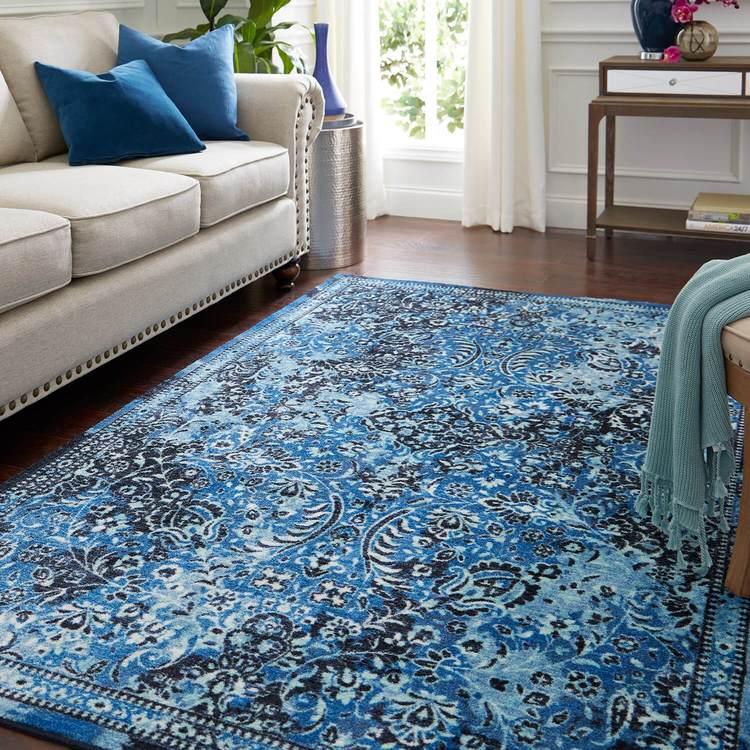 Technicolor Persian Blue Area Rug