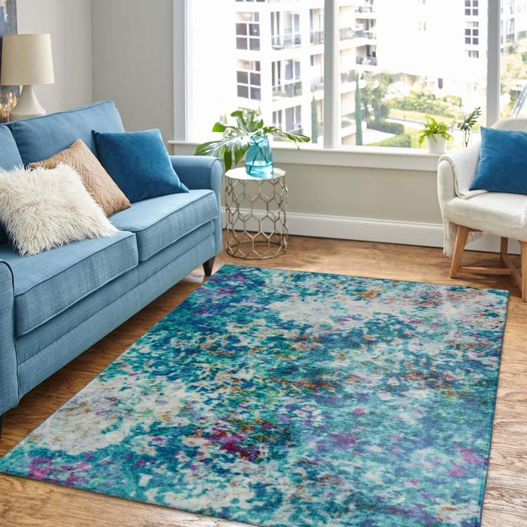 Technicolor Expression Blue Area Rug