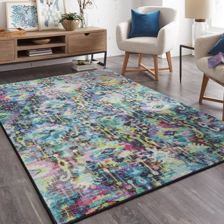 Technicolor Amani Green  Purple Area Rug