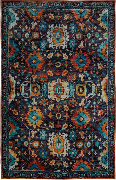 Technicolor Pomona Blue  Orange Area Rug