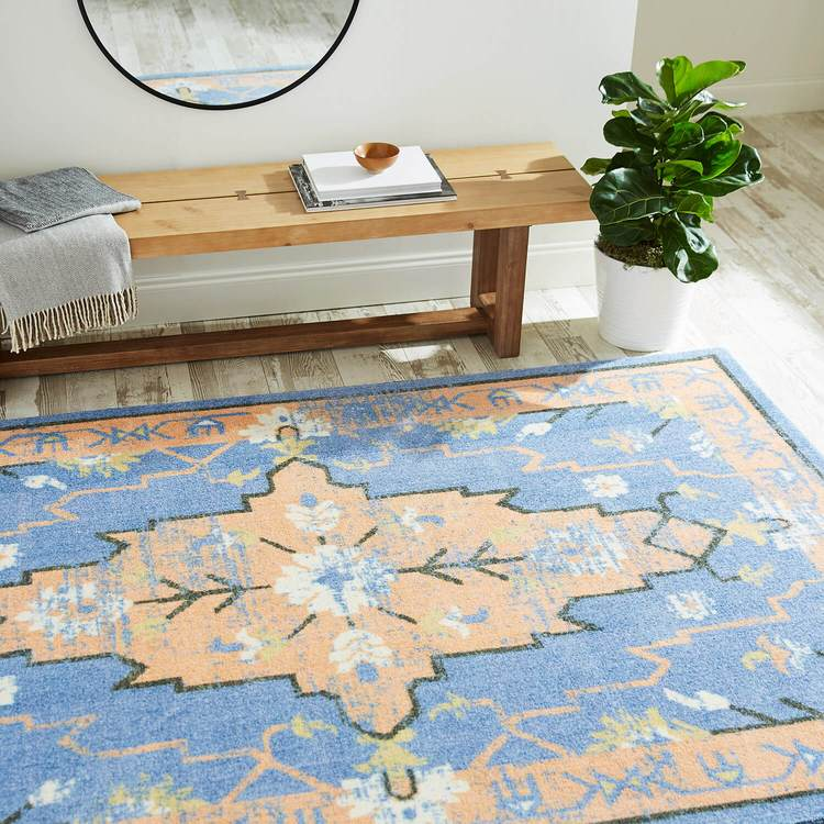 Technicolor Aster Blue  Orange Area Rug