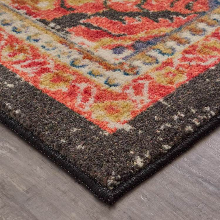Technicolor Prescott Gray  Orange Area Rug