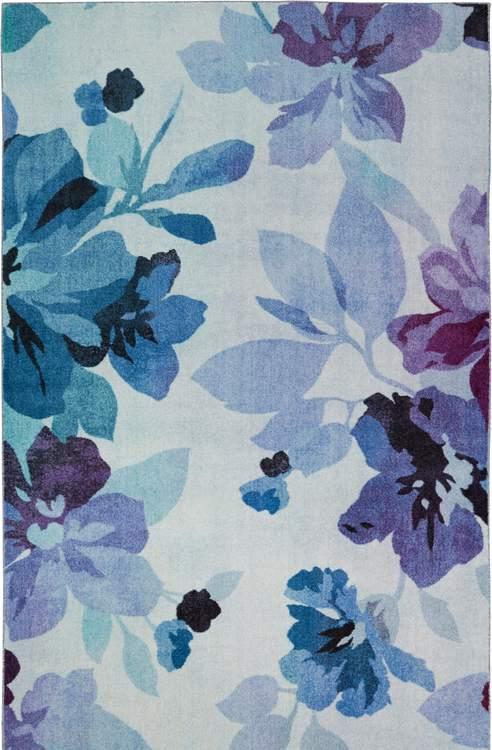 Technicolor Blooms White  Purple Area Rug