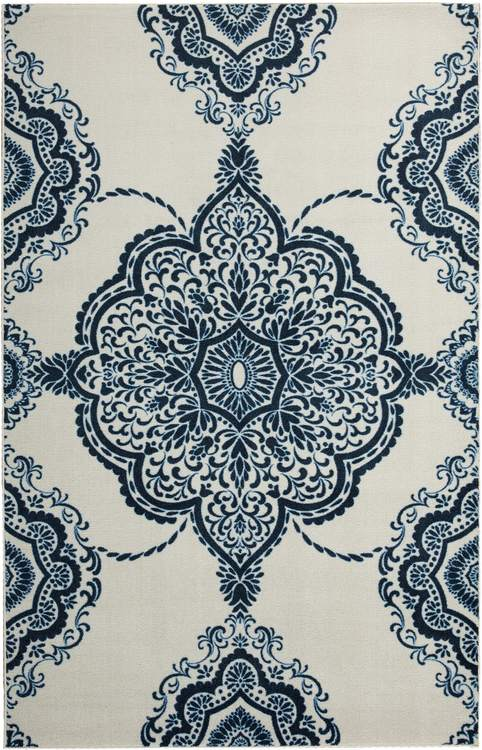 Technicolor Johnston White  Blue Area Rug
