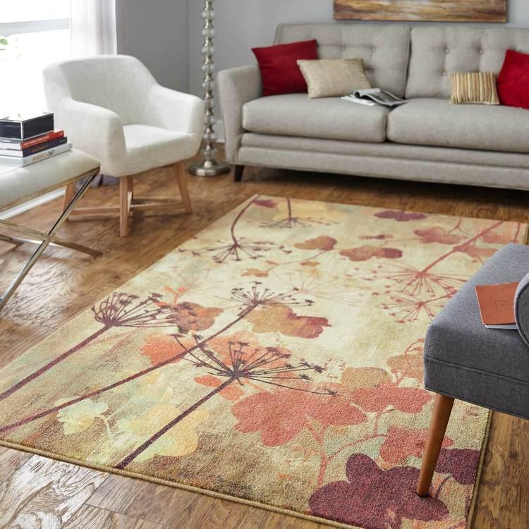 Technicolor Dandelion Brown  Orange Area Rug