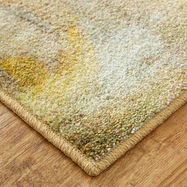 Technicolor Fresh Floral Gold Area Rug