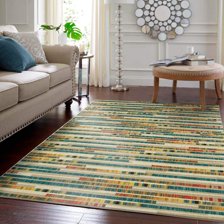 Technicolor Tile Rows Blue  Orange Area Rug