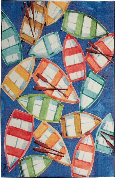 Technicolor Row Your Boat Blue  Orange Area Rug