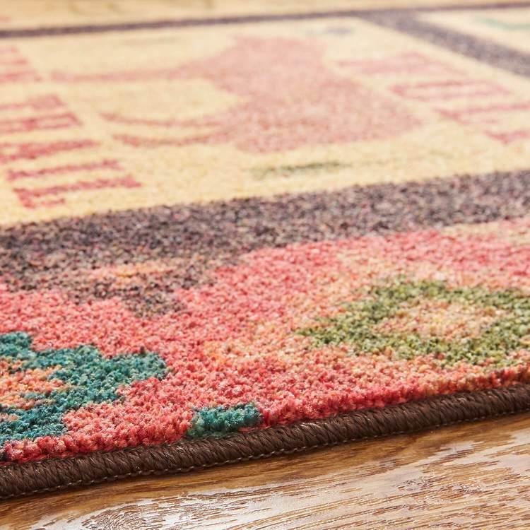 Technicolor Lodge Brown  Red Area Rug