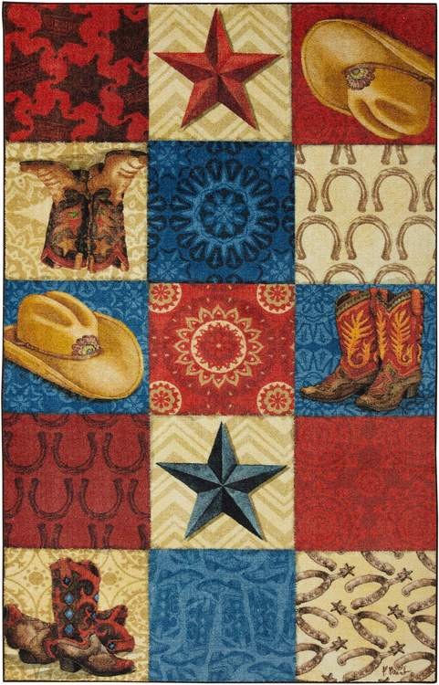 Technicolor Cowboy Red  Blue Area Rug