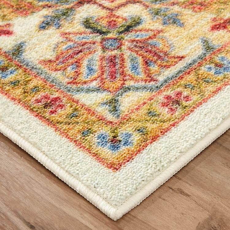 Technicolor Caicos White  Orange Area Rug