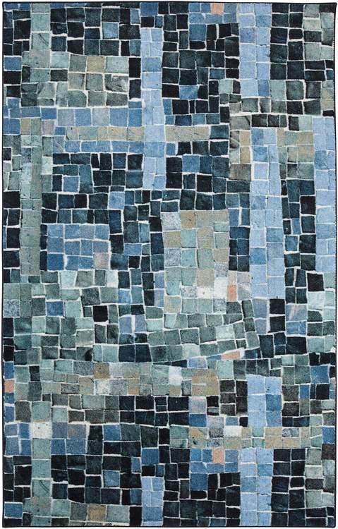 Technicolor Cobblestone Chic Blue Area Rug