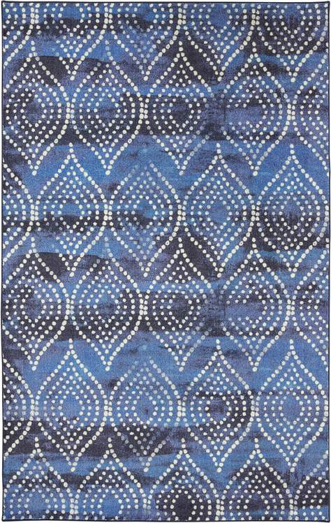 Technicolor Coastal Ogee Blue Area Rug
