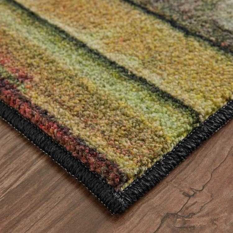 Technicolor Painted Brown  Red Area Rug