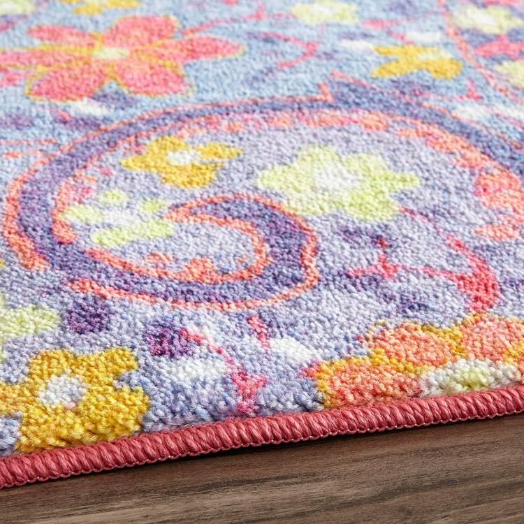 Technicolor Field Pink  Blue Area Rug