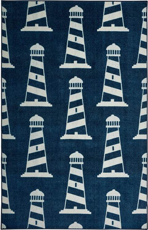 Technicolor Lighthouses Blue Area Rug