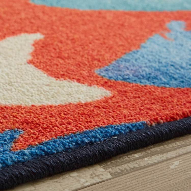 Technicolor Catch Red  Blue Area Rug