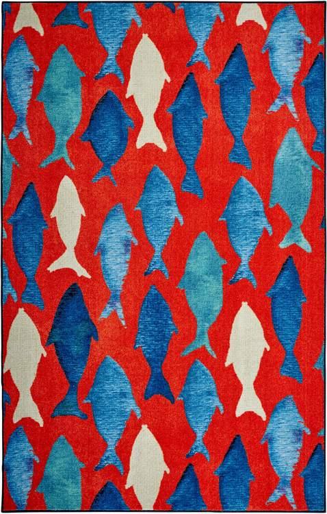 Technicolor Catch Red  Blue Area Rug