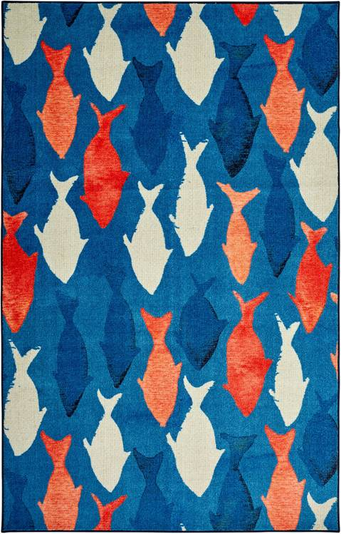 Technicolor Catch Blue  Orange Area Rug